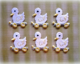 """Ducky Iron-On Embroidered Appliques,1""""  inch, Pastels, x 6, For Nursery, Scrapbook, Apparel, Home Decor, Accessories"""
