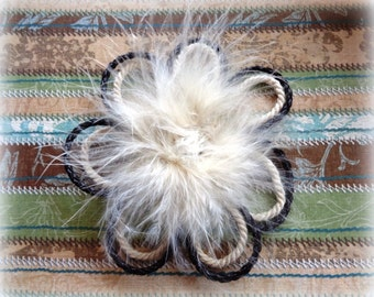 Jeweled Feather Daisy Applique Brooch, Ivory, x 1, For Bridal, Apparel, Accessories, Costumes, Mixed Media, Romantic Crafts