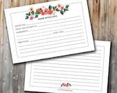 Printable Floral Recipe Cards, INSTANT DOWNLOAD, Bridal Shower, 4x6, Unique, Rustic