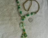 HandCrafted Necklace- Green Jade &  Quartz Beaded-N1531
