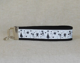 Keychain Wristlet Made With Modern Cat Inspired Ribbon