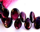 Red Garnet Smooth Oval/Pear Briolette. Birthstone Red Briolette Bead. Semi Precious Gemstone Briolette. 6-8mm. 6 Bead Strand