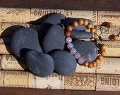 MALA BRACELET - Sandalwood Beads w/Rose Quartz Semi-Precious Stones - Meditation - Healing - Prayer - Yoga Beads - Hand Knotted