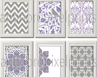 Lavendar Purple Wall Art Vintage Modern Inspired Collection -Set of 6 - 8 x 10 Prints - Featured in Purple Grey White  (UNFRAMED)