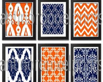 Navy Orange Vintage Modern inspired Art Prints Collection  -Set of 6 - 8x10 Prints - Featured in Navy / Orange (UNFRAMED)