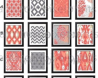 Corals Khaki Grey Wall Art Pictures -Pick Any (6) Any Color - 8x10 Prints -  Custom Color Sizes Available (UNFRAMED) #222556476