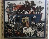 Vintage Noah's Ark wall hanging, Noah's Ark wall decor, nursery wall tapestry, Bible story art, Christian wall hanging, kids church decor
