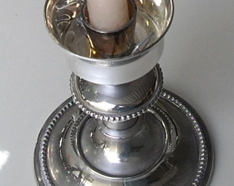 Vintage Silver Plated Candlestick, Silver Candle Holder, Stays for Glass Hurricane Shade, home decor gifts, regency style
