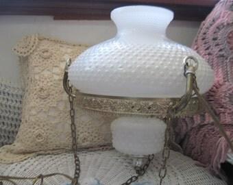 Milk Glass Hanging Ceiling Light, Milk Glass, Vintage Lamps, Vintage Lighting, Vintage Home Decor,