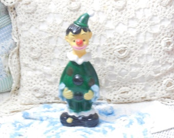 Vintage Plastic Clown Bank Hong Kong 9 1/2 in tall with stopper,Vintage Bank,Bank/Coupon Code CLEARINGOUT25 must use at check out time/S