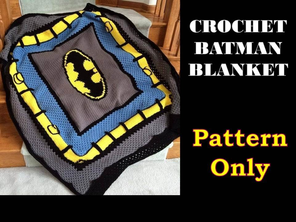 Knitting Pattern For Batman Blanket : Crochet Batman Blanket Pattern ONLY
