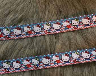 "7/8"" Grosgrain Cat zig zag Ribbon"