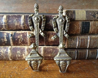 French Curtain Tie Backs, Bronze Gold Gilt Drapery Tie Hold Hooks, Beautiful Detail