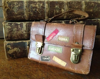 Leather Wallet Mini Suitcase, Made in Italy, Travel or Business Card Case