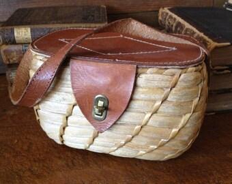 Vintage 1950s Italy Leather Basket Weave Rafia Straw Wicker Handbag Case Storage