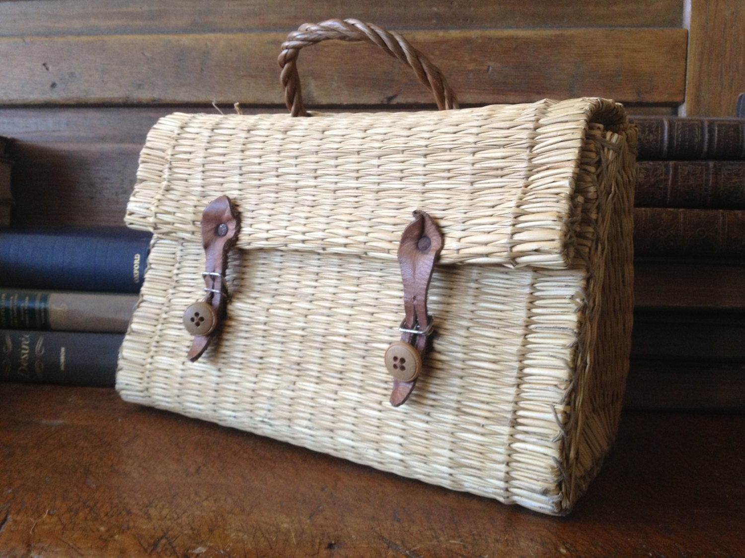 Basket Weaving With Raffia : Vintage basket weave raffia straw wicker leather handbag case