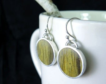 Sterling Silver and Wood Earrings- Special Jewelry Gift- Nature Plain Jewelry