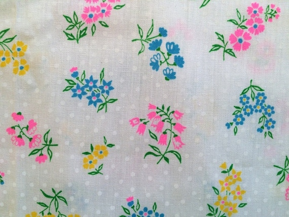 Vintage 70s hot pink on white flower fabric lemon yellow baby for Yellow baby fabric
