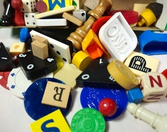 55 Game Pieces / Mixed Game Pieces Wood & Plastic Boggle, Up Words, Bingo, Chess, Letter Dice, Scrabble Game Pieces