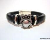 Owl Bangle Bracelet Chunky Leather Bangle Black Leather Owl Bracelet Wisdom Keen Sight Patience Jewelry Women's Leather Bracelet Handmade