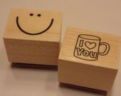 2 piece smiley face and love you  stamp set, 20 mm (BR24)