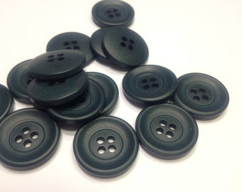 7 dark green / blue vintage buttons, 20 mm (17)