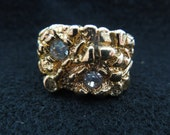Vintage Costume Ring, Men's, Gold Tone with Rhinestones, Different Sizes Available