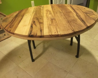 Round Salvaged Wood Rustic Coffee Table Industrial Machine Base Legs