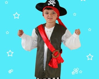 Boy's Pirate vest with attached sleeves and shirt front, striped pants, red sash and hat costume 6-7 size