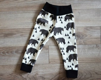 Geo Bear Organic Cotton Infant/Toddler Made to order Leggings Sizes Preemie-4T