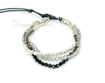 black and white crystal on wax cotton bracelet.