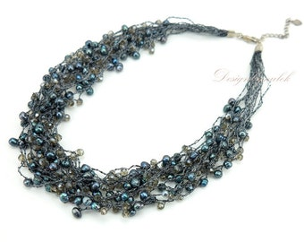 Black freshwater pearl multi strand necklace.