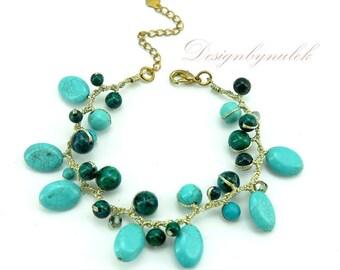 Blur turquoise,freshwater pearl,crystal on silk bracelet.