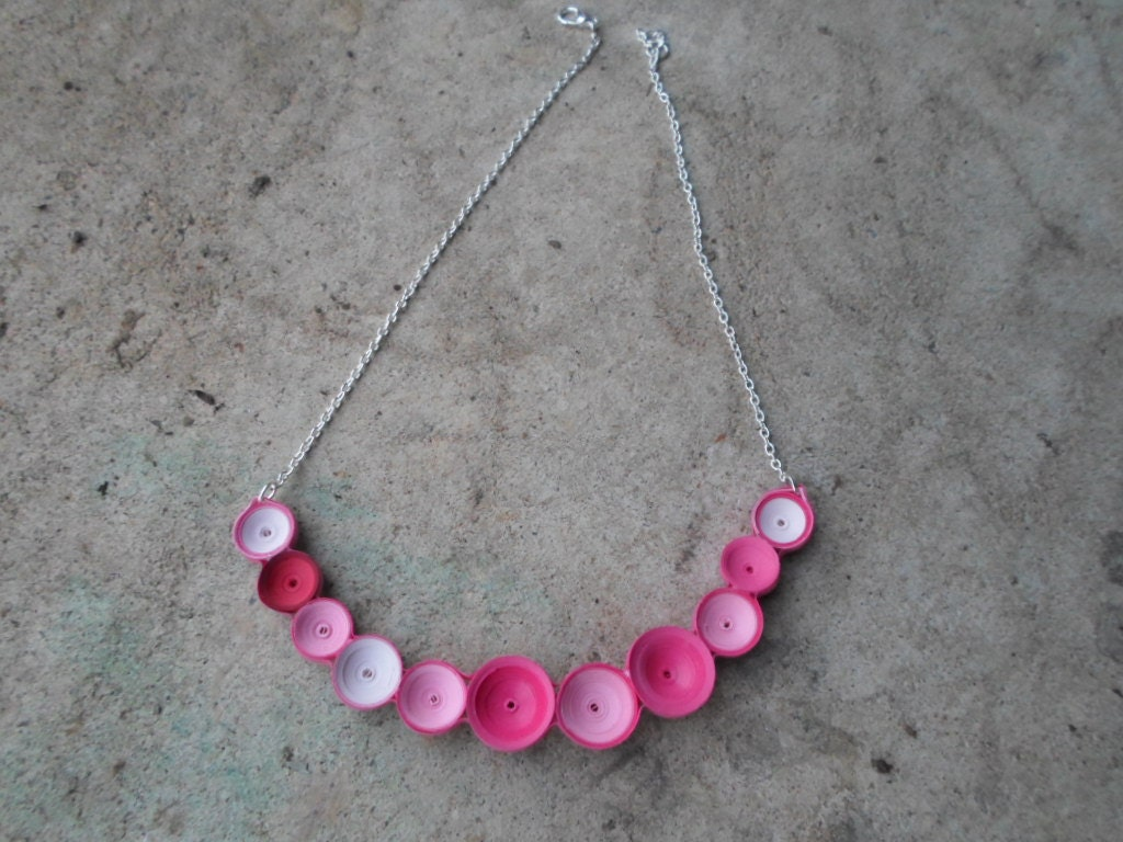 Ombre pink bubble necklace minimalist jewelry bib necklace for Minimal art jewelry