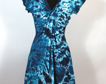 Medium Twisted Tee Dress, Tie Dyed  Blues,  Ready To Ship