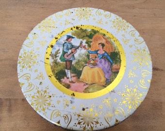 SALE!!!-Vintage Metal Cookie Tin, Distressed Medieval Man Courting His Lady