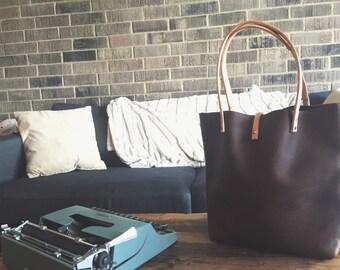 Full grain kodiak leather tote bag