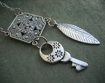 Feather and Key Necklace/Charm Necklace/Boho/Modern