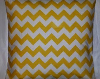 "Cushion Cover in Riley Blake Yellow Chevron Stripe 14"" 16"" 18"" 20"""