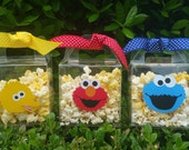 Set of 8 - Elmo Popcorn Box, Elmo Favor Bags, Elmo Treat Box, Popcorn bucket, Elmo Party Favor Box, Cookie Monster Party, Elmo Party Cups