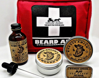 Honest Amish Beard Survival Kit - Gift for the man who has everything Balm, Oil, and Wax