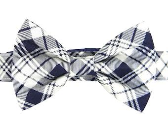 Navy Plaid Bow Tie Dog Collar Set/ Classic Dog Bow Tie Collar: Navy Plaid