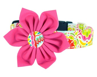 Colorful Flower Dog Collar/ Pink/ Yellow/ Red Dog Collar Flower Set: Confetti