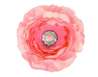 Pink Rhinestone Dog Collar Flower, Collar Attachment: Ruffled Rani in Blush