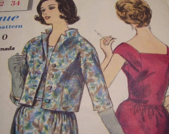 Vintage 1960's Vogue 4221 Dress and Jacket Sewing Pattern, Size 12, Bust 32