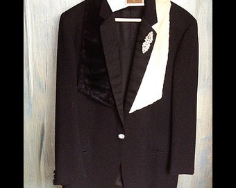 Simone-Vintage Wool Black Tuxedo Jacket with Vintage Rhinestone Twin Pin, Buttons, Chain Back, Black and White Fur Scarf