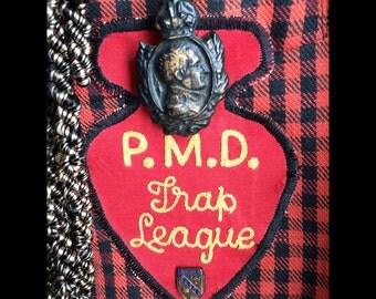 Genevieve-Vintage Cotton Linen Georgio Sant'Angelo Check Red Black Jacket with Vintage Trap League Patch, Fleur de lis Buttons , Fringe