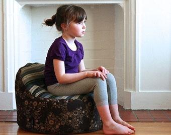modern kids bean bag chair cover - multi stripe seat