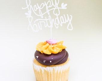 Happy Birthday Cupcake Topper - Birthday topper - Acrylic hand lettered cupcake topper - birthday gift - ready to ship
