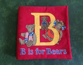 """Vintage 1970s Hand-crafted """"B is for BEARS"""" Cloth Collectible Book"""